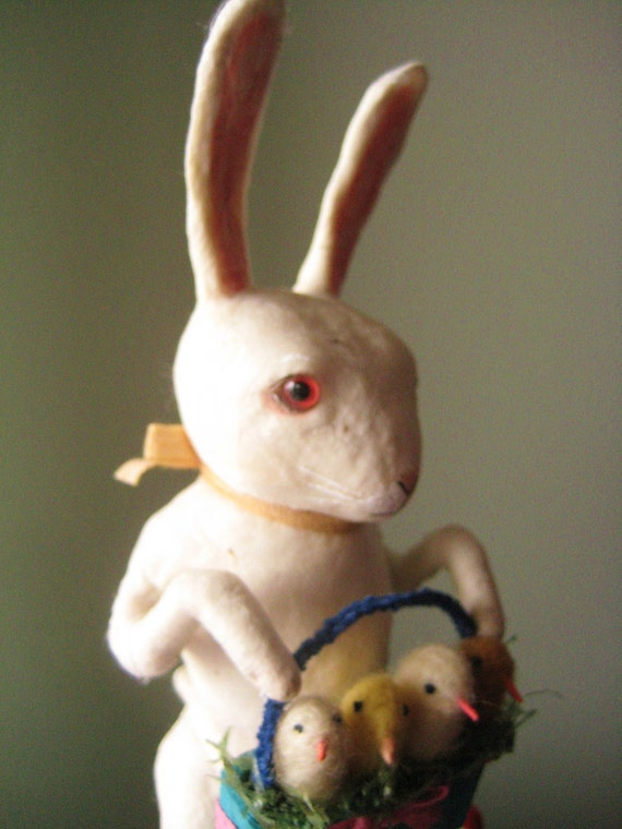 A Large Spun Cotton Rabbit Gentleman with basket of chicks