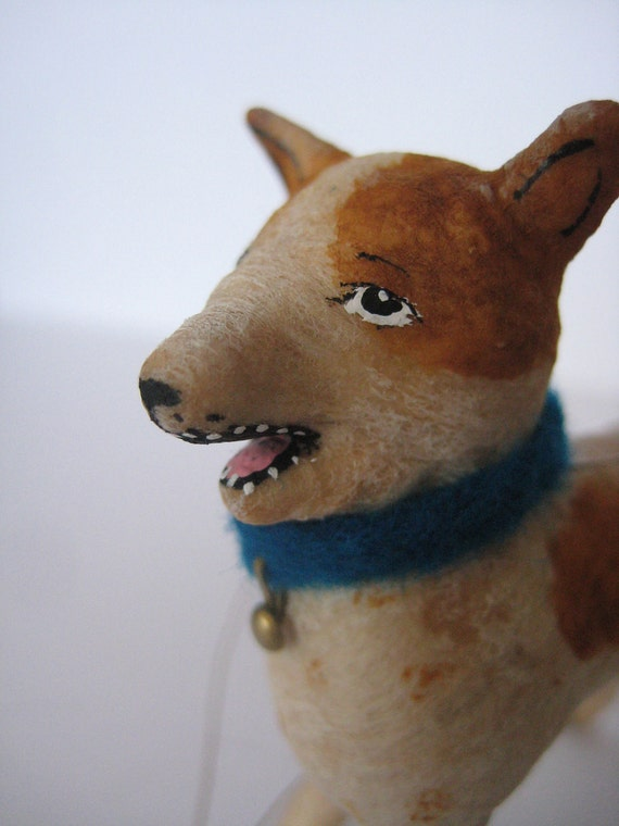 Vintage Inspired Spun Cotton Terrier Dog ornament Maria Pahls