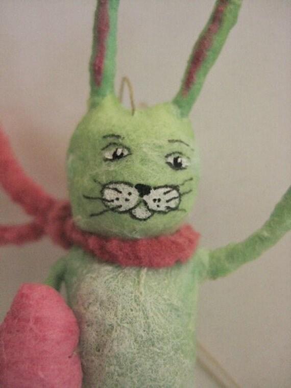 Green Rabbit a Spun Cotton Miniature by maria pahls