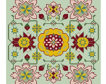 Strawberry Fields floral cross stitch pattern PDF