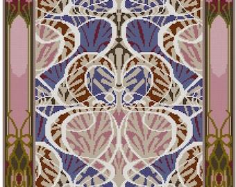 Arts and Crafts textile adaption Beauclair cross stitch pattern pdf
