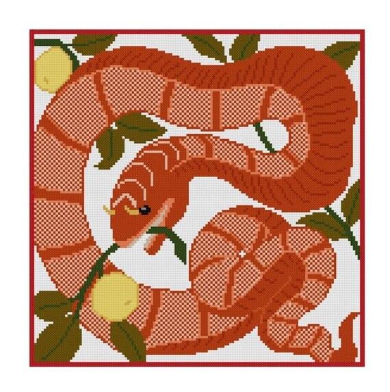 Схема для вышивки крестом Змей в саду