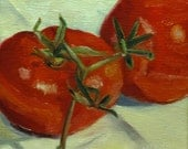 Two Tomatoes, Original Oil Daily Painting a Day by MaryAnn Cleary of Spirit River Studio