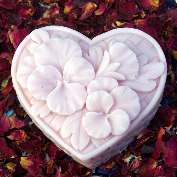 Rose Goat's Milk Soap - Heart Soap, Wedding Favor, Party Favor, Valentine, Love, Heart, Pansy