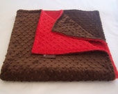 Minky Blanket-Both Sides- Red and Brown- 35 x 30