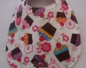 Baby Bib-  Cupcake Confection 10 x 12.5   Second Item Ships Free