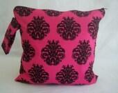 Wet Bag - Large Waterproof Wet Bag- 12.5 x 12.5- Snap Handle and Zipper- Hot Pink Black Damask