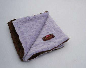 Minky Lovie- 15 x 15 inches- Chocolate and Lavender