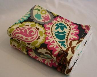Burp Cloths-Paisley Pink and Gray- Set of 2
