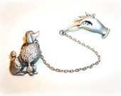 Chatelaine Poodle Hand Leash JJ pin brooch  Artifacts