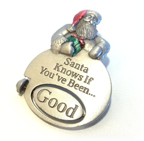 Santa Good Bad articulated Spoontiques Xmas pin brooch Reg Price 14.00