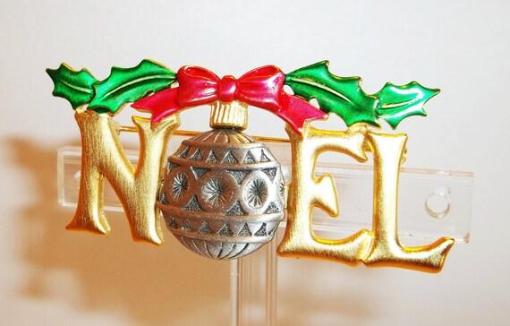 Noel pin JJ Christmas brooch NOS