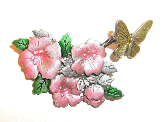 Flower Butterfly articulated Spoontiques pin brooch