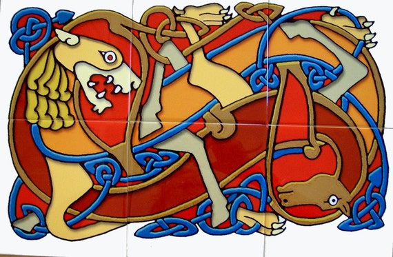 CERAMIC TILE MURAL--Celtic Lion and Horse--FREE SHIPPING