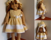 Instant Download - PDF Crochet Pattern - Dress, Hat and Shoes to American Girl Doll or similar 18 inch Doll