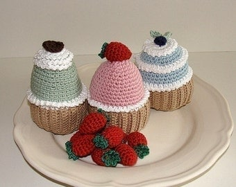 Instant Download - PDF Crochet Pattern - Cupcakes. ( Availble in English and Swedish)