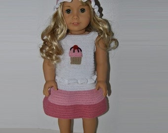 Instant Download - PDF Crochet Pattern - 18 inch AG Doll Cupcake Outfit