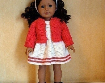 Instant Download - PDF Crochet Pattern - Dress, Cardigan and Hairband to American Girl Doll or similar 18 inch Doll