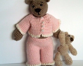 Instant Download - PDF Pattern - Tilda the Bear in Pyjamas and her Teddy Bear. Availble in English or Swedish.