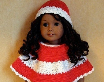 Instant Download - PDF Crochet Pattern - Poncho and Cap to American Girl Doll or similar 18 inch Doll