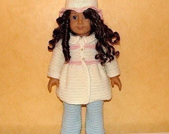 Instant Download - PDF Crochet Pattern - Jacket, Hat and Jeans to American Girl Doll or similar 18 inch Doll