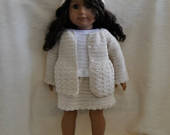 Instant Download - PDF Crochet Pattern - Top, skirt, cardigan and hat to American Girl Doll or similar 18 inch Doll