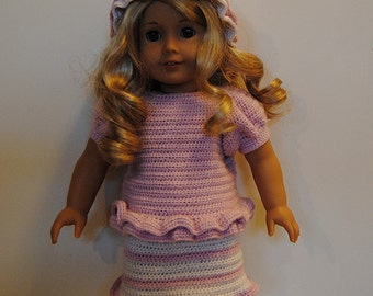 """Instant Download - PDF Crochet Pattern - 18"""" Doll Clothes 33 - Top, Skirt and Hat"""