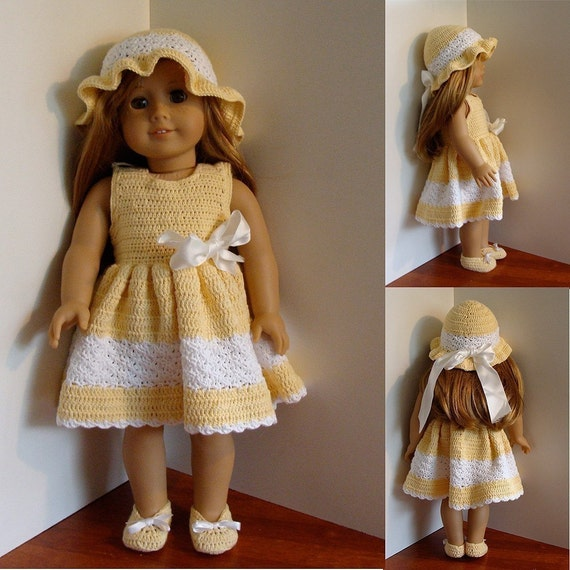 PDF Crochet Pattern - Dress, Hat and Shoes to American Girl Doll or similar 18 inch Doll