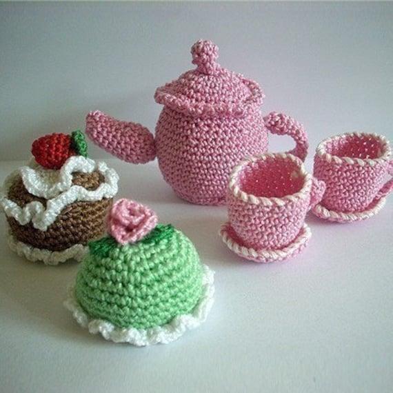 PDF Crochet Pattern - Mini Teapot and Cakes