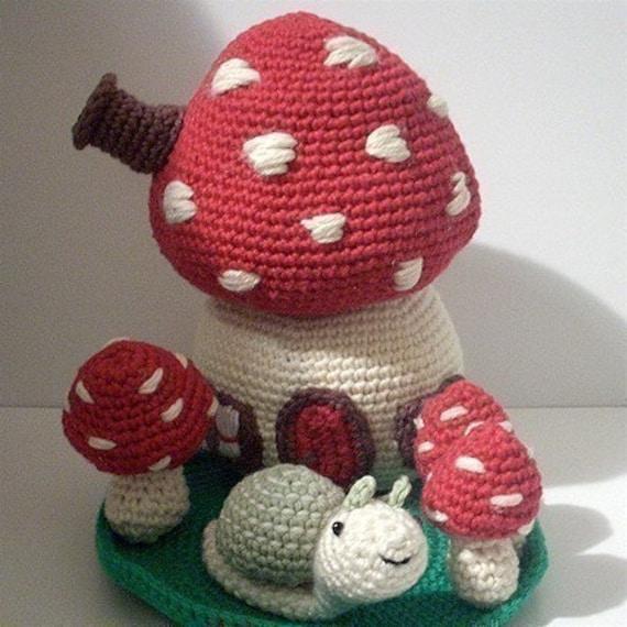 PDF Crochet Pattern Mushroom House. Availble in English or