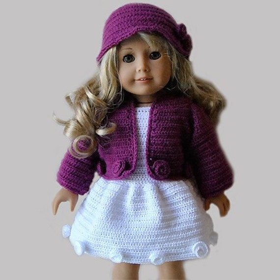 Crochet Hat Pattern American Girl Doll : Instant Download PDF Crochet Pattern 18 AG Doll