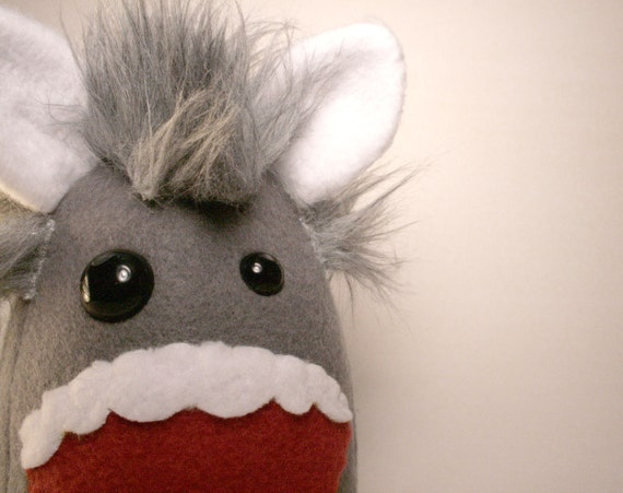 Monster Plush Stuffed with Love with Gray Fur READY TO SHIP