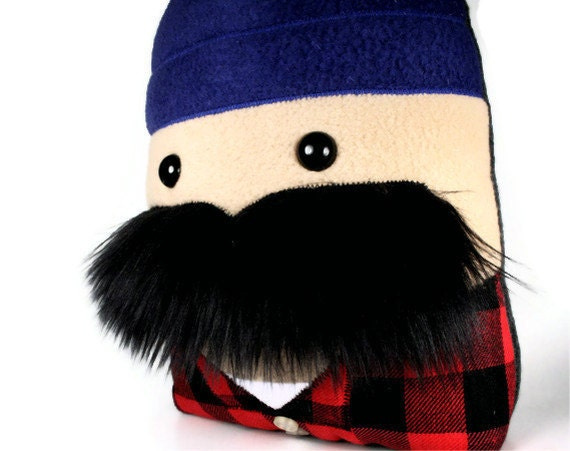 Stuffed Lumberjack Mustached Plushie in Red and Black Flannel, Great Gift for Manly Fathers READY TO SHIP