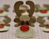 Set of 6pcs handmade felt reindeer--chocolate (FT857)