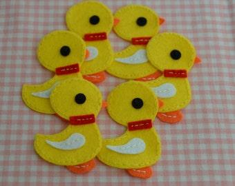 Set of 6pcs handmade felt duck--yellow (FT837)