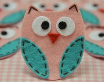 Set of 6pcs handmade felt owl--pink frost/tro. turquoise (FT722)