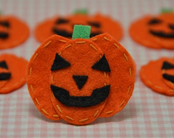 Handmade Set of 6pcs Halloween pumpkins--orange (FT849)