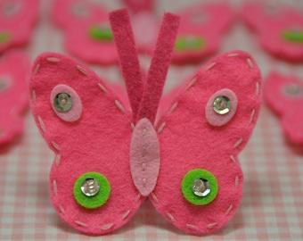 Set of 6pcs handmade felt butterfly--dark carnation (FT593)