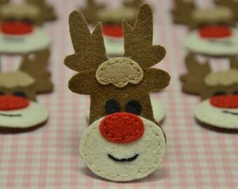 Set of 6pcs handmade felt reindeer--chocolate (FT749)