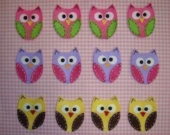 Set of 12pcs handmade felt owl--mix colors (FT722)