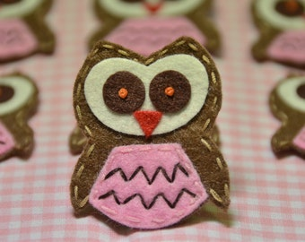 Set of 6pcs handmade felt owl--chocolate/baby pink (FT775)