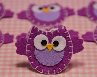 Set of 6pcs handmade felt owl--light plum (FT890)