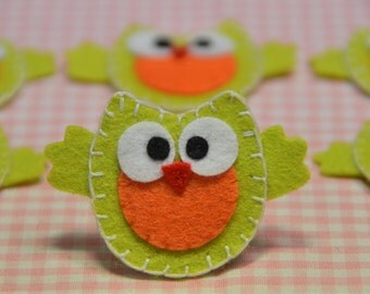 Set of 6pcs handmade felt owl--light green (FT890)