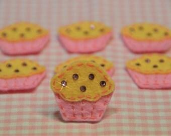 Set of 6pcs handmade felt cupacke w/ swarovski crystal--baby pink (FT2156)