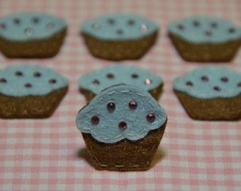 Set of 6pcs handmade felt cupacke w/ swarovski crystal--chocolate/blue (FT2156)