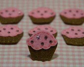 Set of 6pcs handmade felt cupacke w/ swarovski crystal--chocolate/baby pink (FT2156)