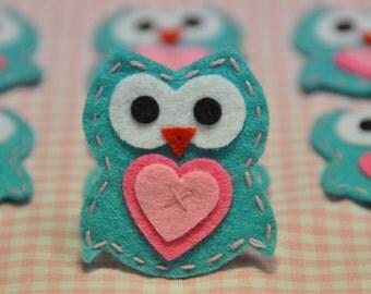 Set of 6pcs handmade felt owl--tro. turquoise (FT922)