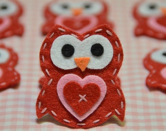 Set of 6pcs handmade felt owl--devil red (FT922)