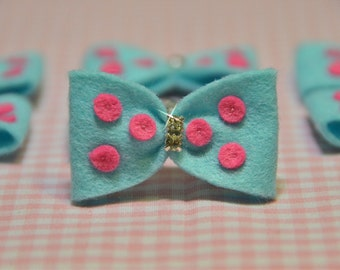 Set of 6pcs handmade felt bow with rhinestones--blue (FT924)