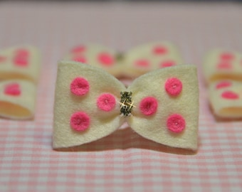 Set of 6pcs handmade felt bow with rhinestones--ivory (FT924)